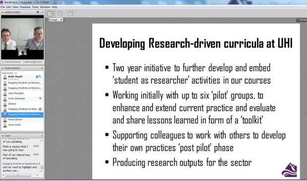 Screenshot of 'Engaging students as researchers' webinar