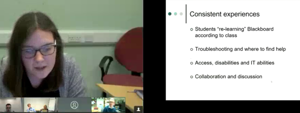 A screen shot of William Mohieddeen and Helen Doyle's Presentation through videoconferencing.