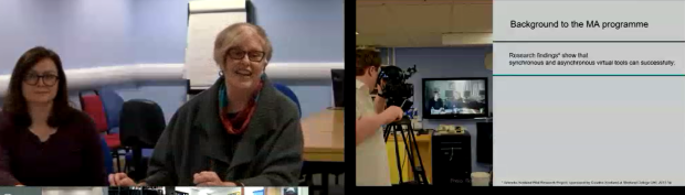 A screen shot of the The MA Art and Social Practice Programme Academic Team's presentation through videoconferencing.