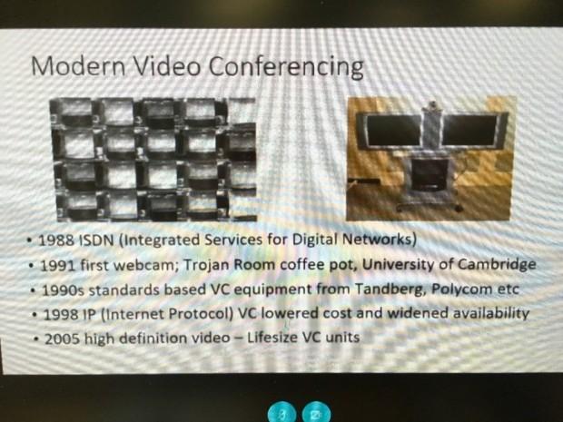 A screen shot of Simon Clarke's presentation through videoconferencing.